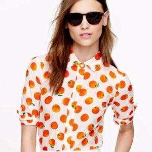 J. Crew Perfect Shirt in Citrus Print Sz 00